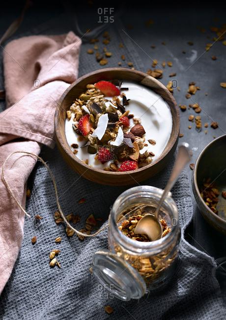 Delicious granola with coconut cream