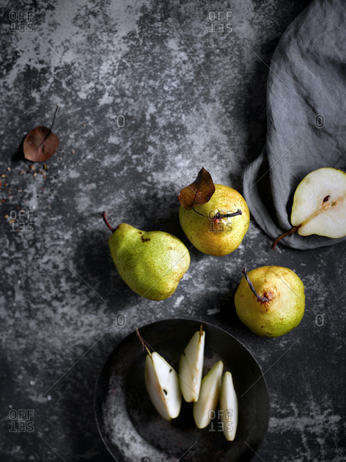 Fresh and sweet pears on table
