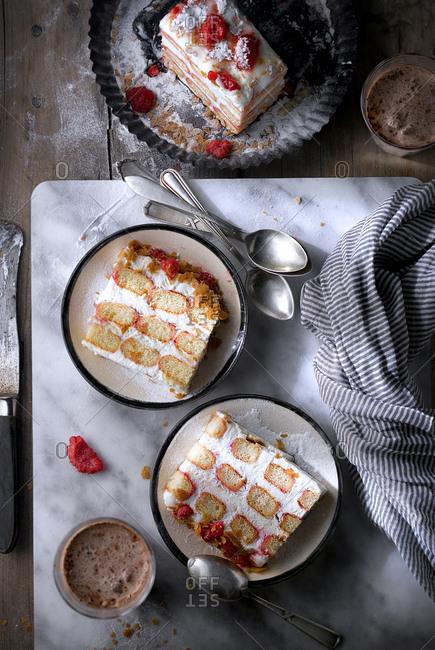 Slices of creamy raspberry cake