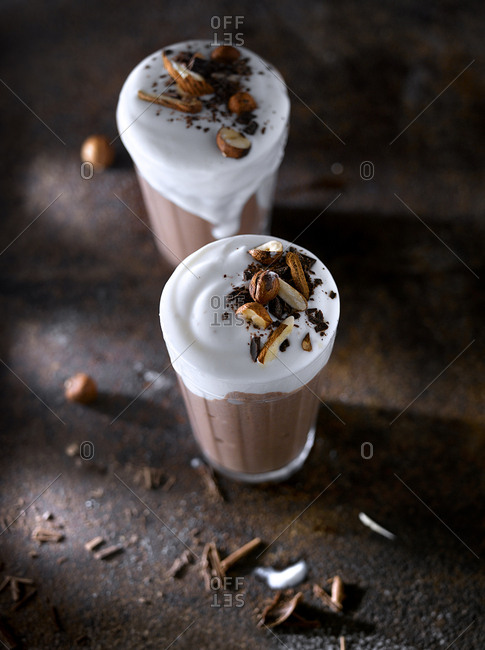 Sweet chocolate smoothie with ice-cream