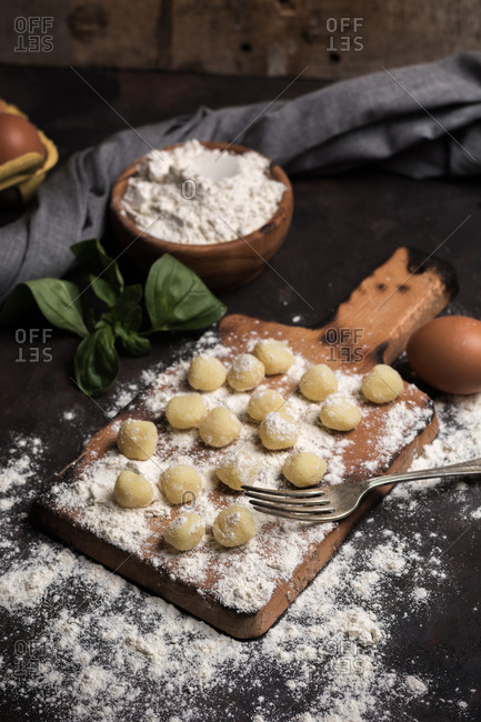 Raw gnocchi, typical Italian made of potato, flour and egg dish