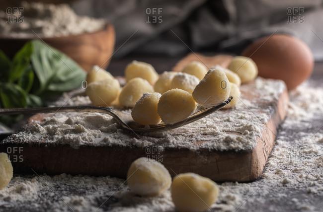 Raw gnocchi, typical Italian made of potato, flour and egg dish