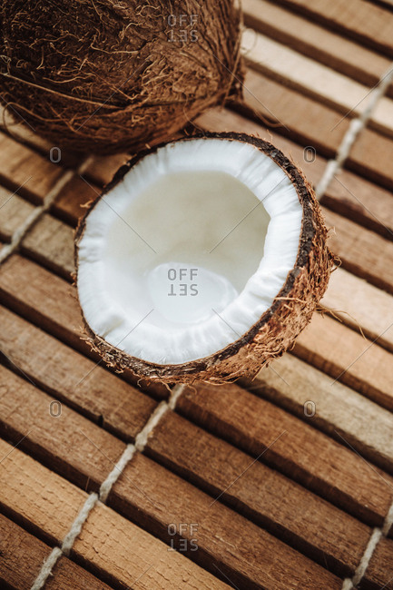 Cracked and whole coconut