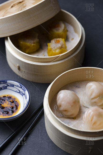 Har gow and sui mai dim sum with chili oil