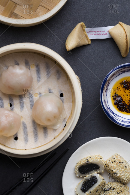 Har gow dumplings with chili oil, mochi and fortune cookie