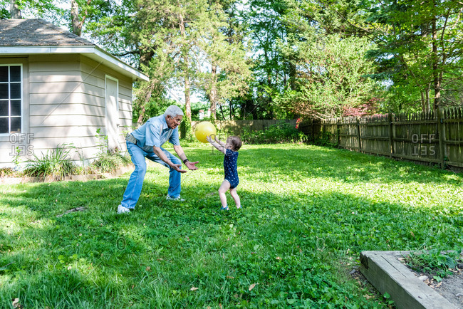 Toddler and grandfather throwing a ball in the backyard