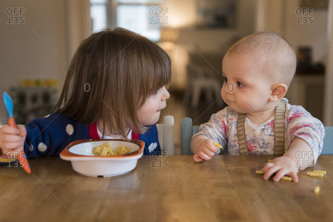 Sisters (12-17 months, 2-3) having lunch at home
