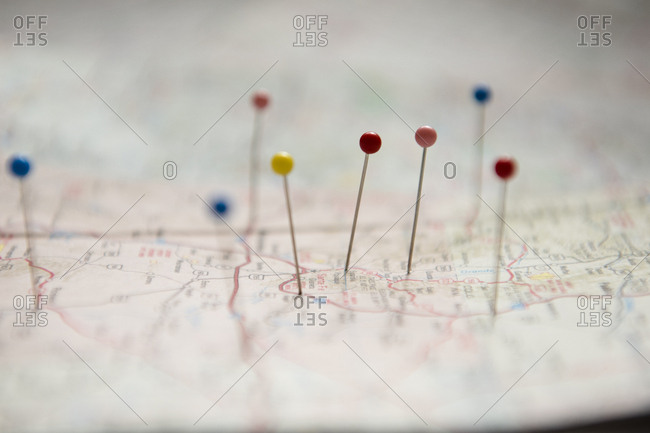 Pins on map