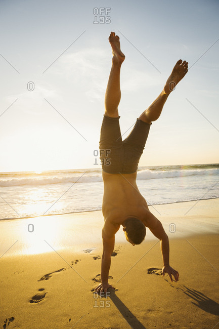 Man standing on hand