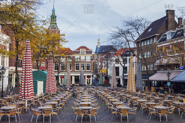 October 20, 2014: Netherlands, South Holland, Hague, Cafe on courtyard