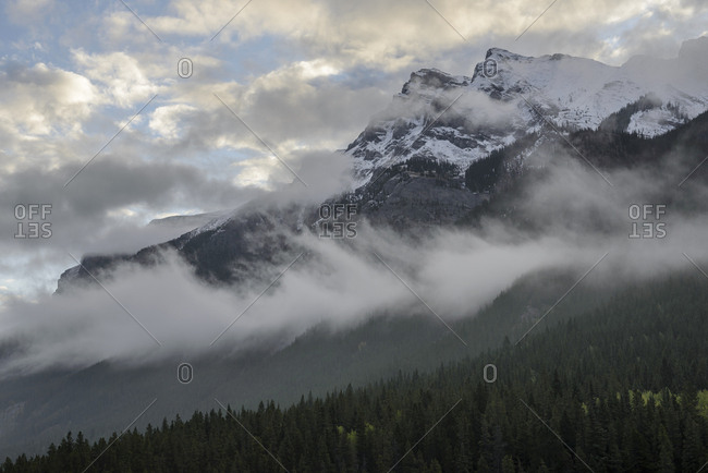 Canada, Alberta, Banff, Clouds over mountains