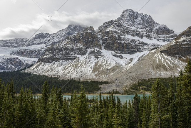 Canada, Alberta, Banff, Snowcapped mountains and Bow Lake