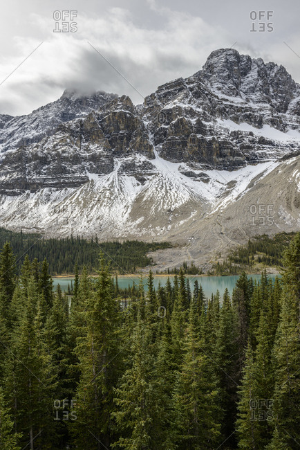 Canada, Alberta, Banff, Snowcapped mountains and Bow Lake