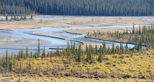 Canada, Alberta, Jasper, River crossing landscape in Jasper National Park