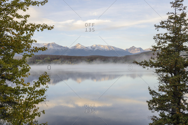 Canada, Alberta, Jasper, Mountain landscape and Patricia Lake in Jasper National Park