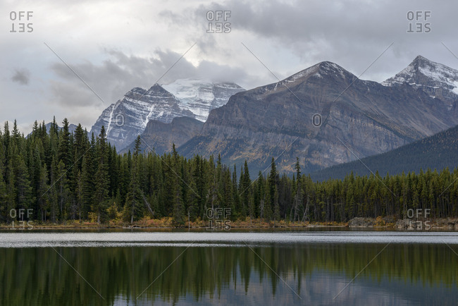 Canada, Alberta, Banff, Herbert Lake, forest and mountains