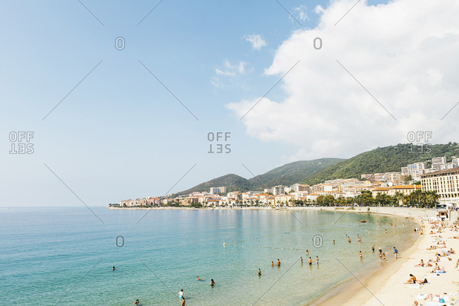 September 6, 2012: France, Corsica, Ajaccio, People on beach
