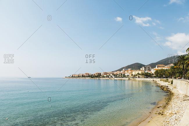 France, Corsica, Ajaccio, Coastline and empty beach
