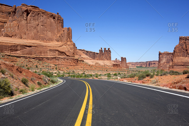 Two lane highway through Arches National Park