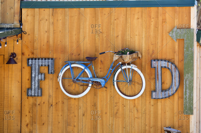 Cafe sign created with bicycle