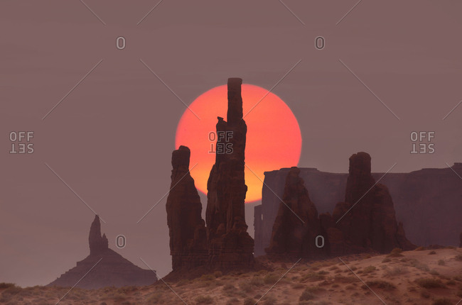 Sunrise at Totem Pole Rock in Monument Valley