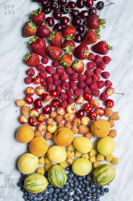 Vibrant spread of fresh fruit snacks from above