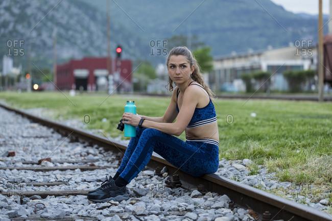 Beautiful girl doing workout outdoors. Gorizia, Italy.