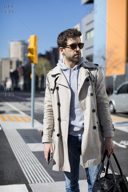 Businessman in the city. Barcelona, Spain.