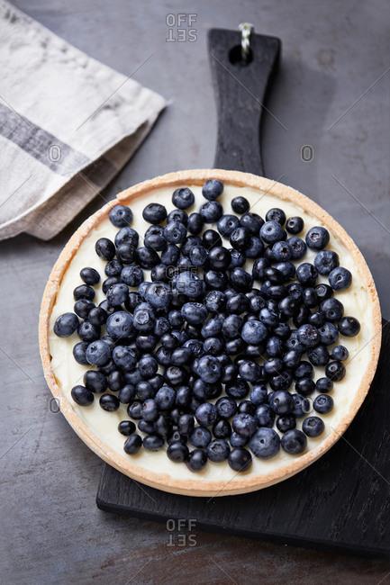 Overhead of a blueberry tart