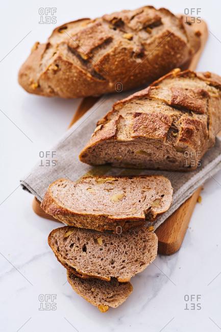 Sliced loaves of rye bread