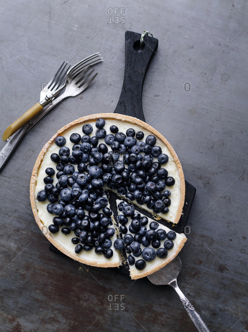 Blueberry tart with slice on a serving utensil