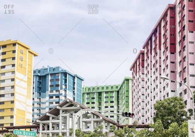 Singapore - October 20, 2017: Colorful residential buildings