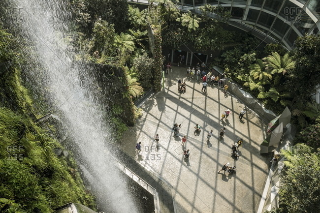 Singapore - October 21, 2017: Water falling inside the Cloud Forest greenhouse at Gardens by the Bay