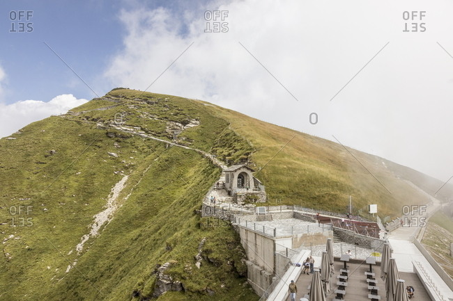 Ticino, Switzerland - July 14, 2017: Outside patio at the base of trails leading to the grassy summit of Monte Generoso