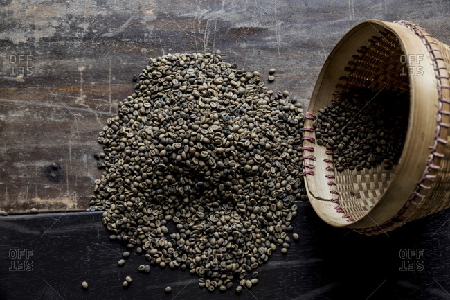 Coffee beans from the local plantation in Central Java, Indonesia