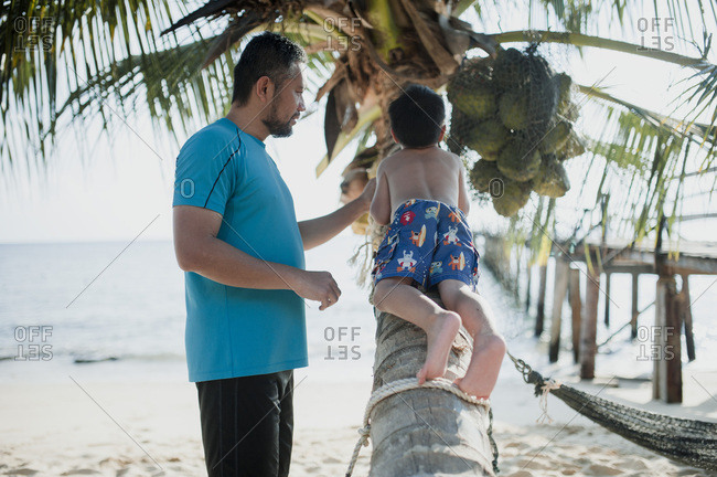 Boy climbing a palm tree as father looks on