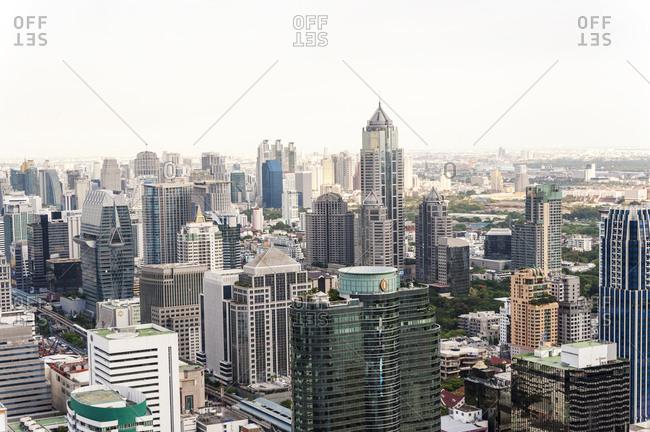 Bangkok, Thailand - May 20, 2012: City buildings in downtown Bangkok