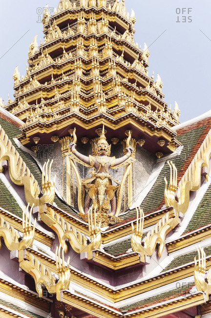 Detail of Buddhist temple exterior in Bangkok, Thailand