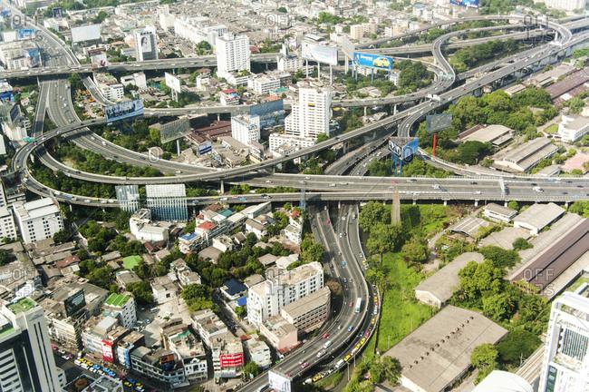 Bangkok, Thailand - May 22, 2012: Aerial view of highways