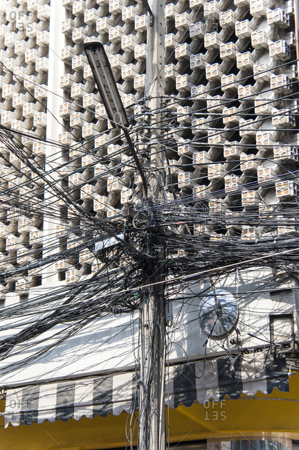 Tangled electric lines in Bangkok, Thailand