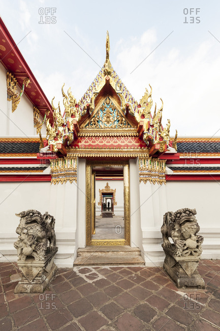 Exterior entrance to Buddhist temple in Bangkok, Thailand