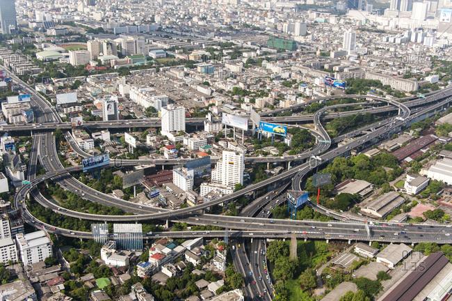 Bangkok, Thailand - May 22, 2012: Aerial view of freeways