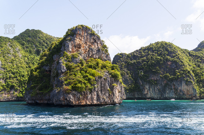 Scenic view of the Phi Phi Islands in Thailand
