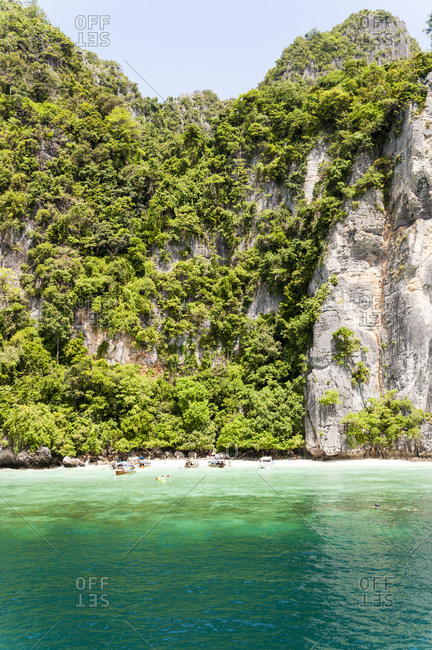 Scenic view of Monkey Beach in the Phi Phi Islands in Thailand