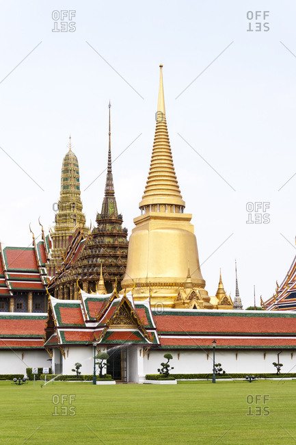 Spires of Buddhist temples in Bangkok, Thailand