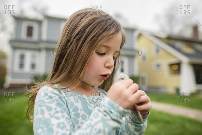 Cute girl playing with dandelion while standing at lawn against house