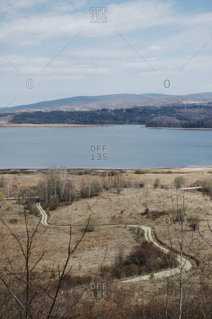 High angle view of Lake Vlasina against sky