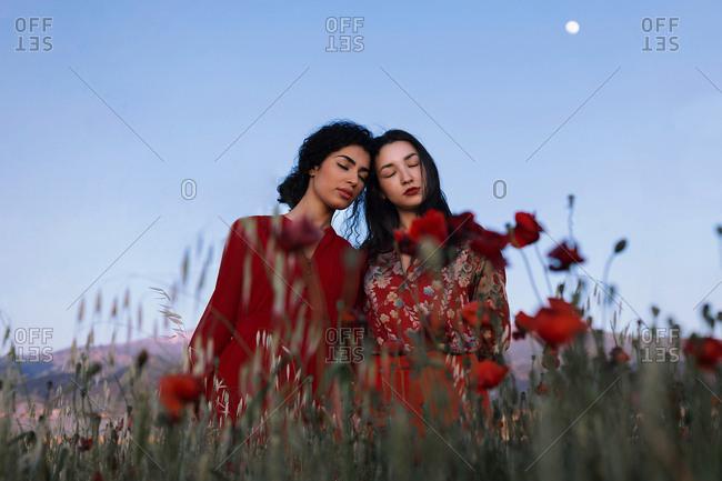 Beautiful models in red in field