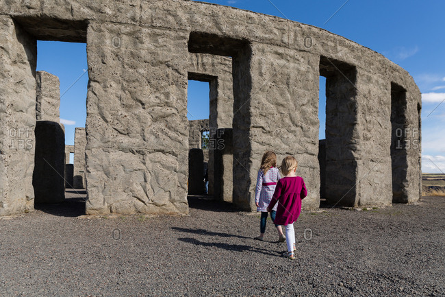 Sisters visiting Maryhill Stonehenge in Washington