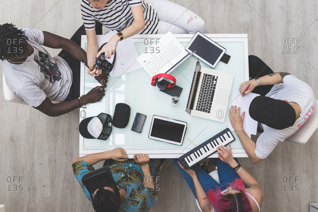 Overhead view of a creative team in a business meeting